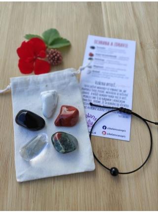 OCHRANA A ZDRAVIE – balíček minerálov (turmalín, magnezit, heliotrop, jaspis, krištáľ)