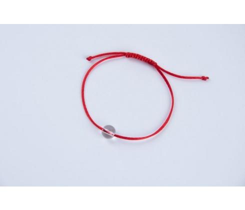 Červená šnúrka s čírym krištáľom veľký korálik