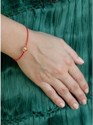 Červená šnúrka s krištáľom aqua aura